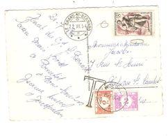 REF1495/ CP Suisse Grand St.Bernard 22/7/1954 TP Français 0 > Woluwé Belgique Griffe T Taxée 5 Frs TTx 47-60 C.Woluwé - Portomarken