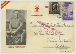 Carte Postale De Propagande Viva Franco ! 1938 De Tetuan (Porrio Moro) Maroc Pour Salins-les-Bains . Censure Militaire . - 1931-50 Briefe U. Dokumente