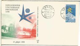 ITALIA VERONA FDC EXPOSICION DE BRUSELAS 1958 - 1958 – Brüssel (Belgien)