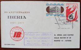 1977 URUGUAY V148 FLIGHT VUELO MONTEVIDEO-MADRID AVION Airline IBERIA AIRCRAFT FIREMEN Pompier Coin Moneda - Uruguay