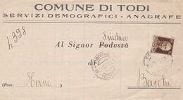 ITALIE 1945. COMUNE DI TODI. SERVIZI DEMOGRAFICI - ANAGRAFE. CIRCULEE A BASCHI -LILHU - Non Classés