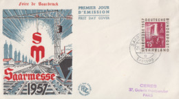 Enveloppe  1er  Jour  SARRE   5éme    Foire  Internationale   SAARBRÜCKEN    1957 - FDC