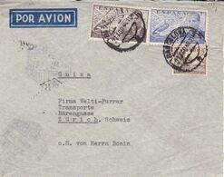 ESPAGNE 1946. ENVELOPPE CIRCULEE BARCELONA - ZURICH SUISSE. PAR AVION -LILHU - 1931-50 Briefe U. Dokumente