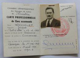 Carte Professionnelle De Clerc Assermenté 1970 Concarneau Huissiers De Justice Finistère Wasselet Jacques Pont L'Abbée - Vecchi Documenti