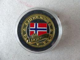 Médaille Touristique Couleur Norway. Alt For Norge. Norvège Drapeau Et élan - Gettoni E Medaglie