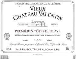 ETIQUETTES De Vins.  VIEUX CHATEAU VALENTIN  1992  (1er Cotes De Blaye).  Patrick Revaire.  75cl. ..C475 - Bordeaux