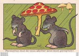 IMAGES ILLUSTREES Permettez-moi De Vous Abriter Sous Mon Parapluie !rat Champignon  Illustrateur Benjamin RABIER..C355 - Autres