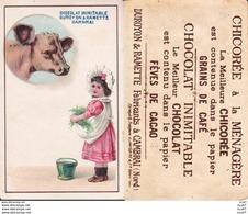 CHROMOS. Chocolat. DUROYON & RAMETTE (Cambrai).  Petite Fille Donnant De L'herbe à La Vache ..D214 - Duroyon & Ramette