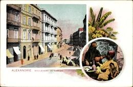Cp Alexandria Ägypten, Boulevard De Ramleh, Familie Bei Der Mahlzeit - Ansichtskarten