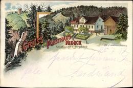 Lithographie Oberhaslach Bas Rhin, Forsthaus Nideck Beim Wasserfall Und Burg Nideck - France