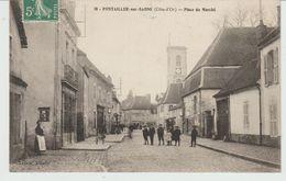 CPA PONTAILLER-SUR-SAÔNE (21) PLACE DU MARCHE - ANIMEE - Altri Comuni