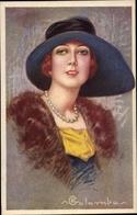 Artiste Cp Colombo, E., Frau Mit Hut, Pelz, Perlenkette - Illustrators & Photographers