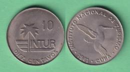 1981-MN-145 CUBA EXCHANGE INTUR COIN 1981 10c. KM 415.1. BIRD AVES PAJAROS COLIBRI ZUNZUN. 10 IN NUMBERS. - Cuba