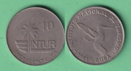 1981-MN-146 CUBA EXCHANGE INTUR COIN 1981 10c. BIRD AVES PAJAROS COLIBRI ZUNZUN. 10 IN NUMBERS. - Cuba
