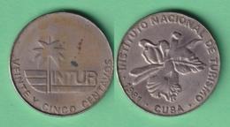 1981-MN-147 CUBA EXCHANGE INTUR COIN 1981 25c. MARIPOSA FLOR BUTTERFLIES FLOWER 25 EN LETRAS. - Cuba