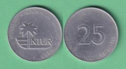 1988-MN-118 CUBA EXCHANGE INTUR COIN. 1988. 25c. KM 415. ALUMINUM. - Cuba