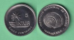 1989-MN-162 CUBA EXCHANGE INTUR COIN. 1989.  5c POLIMITA SNAIL. CUPRO-NI. UNC. - Cuba