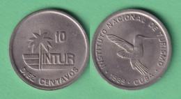 1989-MN-163 CUBA EXCHANGE INTUR COIN. 1989.  10c ZUNZUN BIRD AVES PAJAROS. CUPRO-NI. XF PLUS. - Cuba