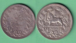 M301 IRAN PERSIA 1902 1320 5000 DINAR (5 KRAN) KM.976 23gr 900 FINE SILVER LION. - Irán