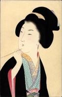 Artiste Cp Japan, Japanerin Mit Steckfrisur, Malpinsel, Kimono - Giappone