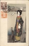 Artiste Cp Japan, Japanerin In Kimono, Portrait Am Wasser - Giappone