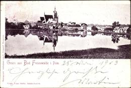 Cp Chociwel Freienwalde Pommern, Wasserpartie Mit Blick Auf Ortschaft - Pommern