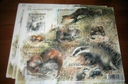 "Blok 161** MNH ""dieren, Marterachtigen, Hermelijn, Otter, Das"" Bloc 161**Les Mustélidés - 3831/36** (6 Zegels Nr 1) - Bloques 1962-...."