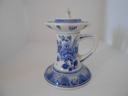 Rare Bougeoir  Delfts  Blauw Ram  Maastricht  Hand Painted Hauteur 14 Cm - Delft (NLD)