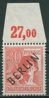 Berlin 1948 Schwarzaufdruck Plattendruck Oberrand 11 P OR Ndgz. Postfrisch Sign. - Ungebraucht