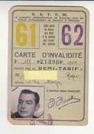 Marseille Tramway RATVM Carte D'invalidité Demi-tarif Excellent état - Tram