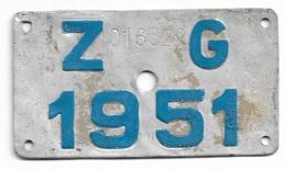 Velonummer Zug ZG 51 - Placas De Matriculación