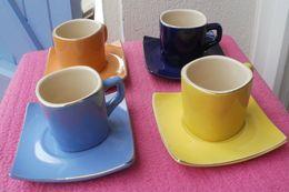 4 Tasses à Café Et Sous-tasses Multi Couleurs - Ceramics & Pottery
