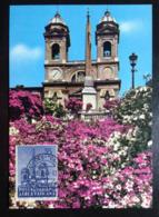 Vatican, Uncirculated And Stamped Postcard, Maximum Card, « Spain's Square And The Trinità Dei Monti », 1964 - Vatikanstadt