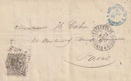 1878-CARTA-Edifil: 194. ALFONSO XII. MADRID A PARIS - 1875-1882 Royaume: Alphonse XII