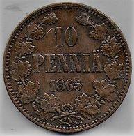 Finlande - 10 Pennia  1865 - Finlandia