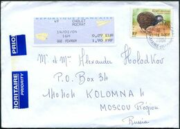 France 2004 CHOLET MOCRAT Priority Cover Franked Dual Currency 2000 3F Kiwi Bird + ATM Frama Label Lettre Brief > Russia - Kiwi
