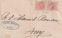 1882-CARTA-Edifil: 210(2). ALFONSO XII. VIGO A TUY. Matasello VIGO / PONTEVEDRA - 1875-1882 Royaume: Alphonse XII