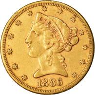 Monnaie, États-Unis, Coronet Head, $5, Half Eagle, 1886, U.S. Mint, San - L. Gold