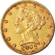 Monnaie, États-Unis, Coronet Head, $5, Half Eagle, 1892, U.S. Mint - L. Gold