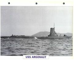 (25 X 19 Cm) B - Photo And Info Sheet On Warship - Submarine USS Argonaut (475) - Boats