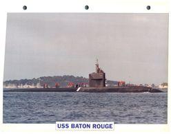 (25 X 19 Cm) B - Photo And Info Sheet On Warship - Submarine USS Baton Rouge - Boats