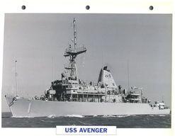 (25 X 19 Cm) B - Photo And Info Sheet On Warship - USS Avenger - Boats