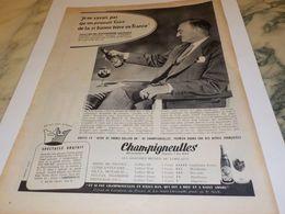 ANCIENNE PUBLICITE BIERE CHAMPIGNEULLES  AVEC RAYMOND SACHOT D AMORA 1958 - Alcohols