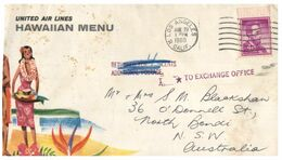 (G 13) USA To Australia Cover - 1960 - Hawaiian United Air Lines (RTS / Additional Postage Stamps) - Airplanes