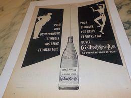 ANCIENNE PUBLICITE EAU CONTREXEVILLE   LES REINS SOLIDES 1955 - Affiches