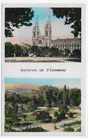 (RECTO / VERSO) SAINT CHAMOND EN 1950 - N° 207 - PLACE DE LA LIBERTE ET JARDIN PUBLIC - BEAU CACHET - FORMAT CPA - Saint Chamond
