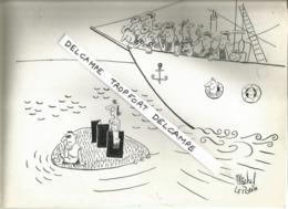 SUPERBE DESSIN DE PRESSE  ORIGINAL ANNÉES 50 60 ACHAT IMMÉDIAT VOIR SCAN / NAUFRAGE ILE BATEAU  MARIN Michel LEPOTVIN - Drawings