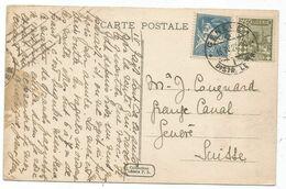 ALGERIE 40C+50C CARTE ALGER OBL ARRIVEE EN SUISSE GENEVE 1 DIST LETTR 16.IV 1927 AU TARIF - Algeria (1924-1962)