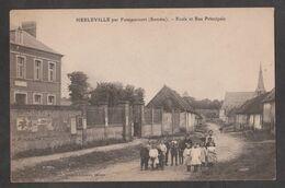 CPA HERLEVILLE Par Foucaucourt-Ecole Et Rue Principale-Animée- - Autres Communes