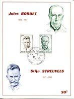 18171121 BE 19711002 Soignies; Médecine, J Bordet; Littérature, S Streuvels; Fllet Cob1603-04 - Feuillets